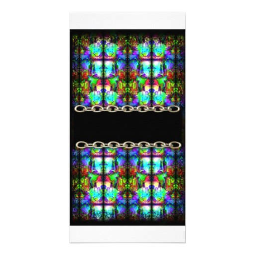 Stained-Glass chain pattern by Valxart.com Customized Photo Card