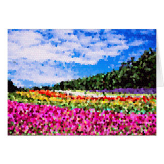 Stained Glass Colorful Flower Field Bluesky Mosaic Greeting Card