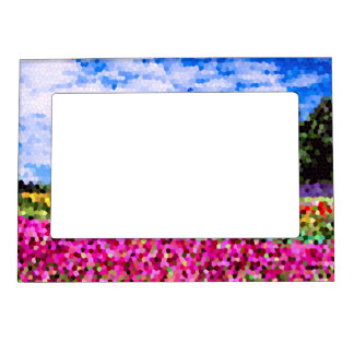 Stained Glass Colorful Flower Field Bluesky Mosaic Magnetic Frames