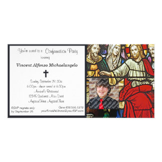 Stained Glass Confirmation Party Invitation Photo Cards