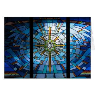 Stained glass cross, blank inside card