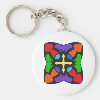 STAINED GLASS CROSS KEY CHAINS