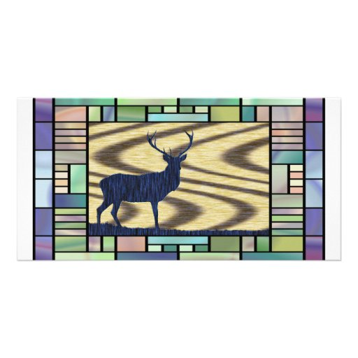 Stained glass deer-in-walnut-on-oak-background picture card