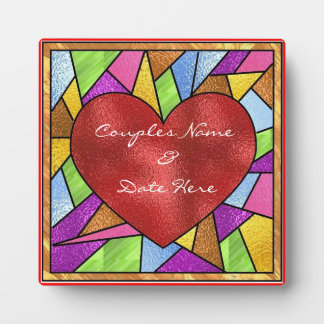 Stained Glass Design Heart Wedding Plaque  Gifts