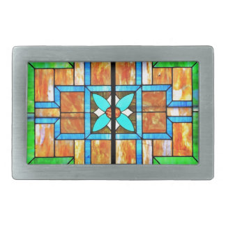 Stained glass detail belt buckles
