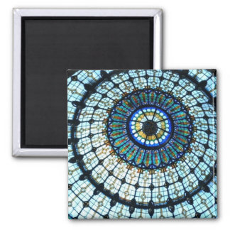 Stained glass dome square magnet