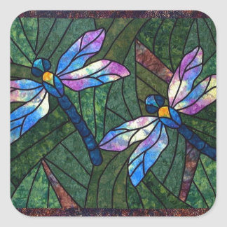 Stained Glass Dragonflies Square Stickers