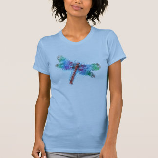 Stained Glass Dragonfly (blue) T-Shirt