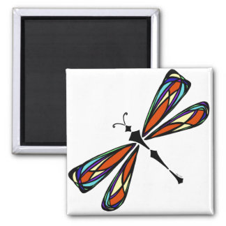 Stained Glass Dragonfly Square Magnet