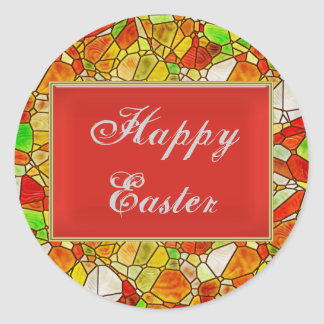 Stained Glass Easter Classic Round Sticker