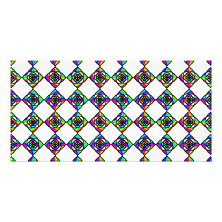 Stained Glass Effect Floral Pattern. Customised Photo Card