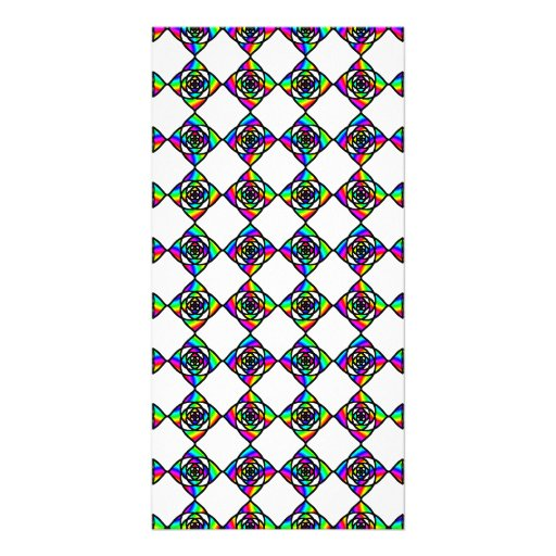 Stained Glass Effect Floral Pattern. Customized Photo Card