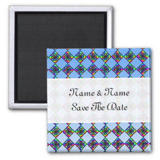 Stained Glass Effect Floral Pattern. Square Magnet