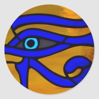 """Stained Glass """"Eye of Horus"""" Classic Round Sticker"""