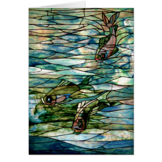 Stained Glass Fish by Tiffany-Blank Greeting Card