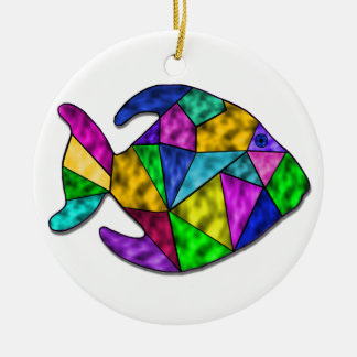 stained glass fish ceramic ornament