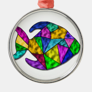 stained glass fish metal ornament