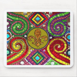 Stained Glass Fleur De Lis Abstract Mouse Pad