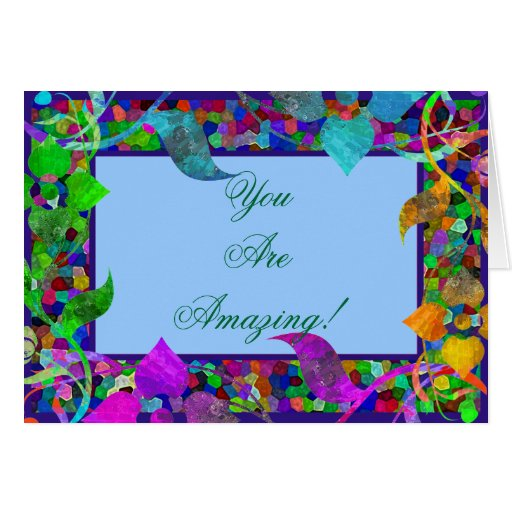 Stained Glass & Flower Borders Greeting Card
