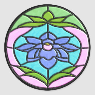 STAINED GLASS FLOWER by SHARON SHARPE Classic Round Sticker