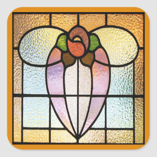 Stained Glass Flower Square Sticker