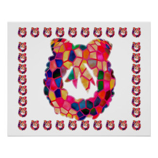 Stained Glass Flower Wreath : ENJOY n share JOY Poster