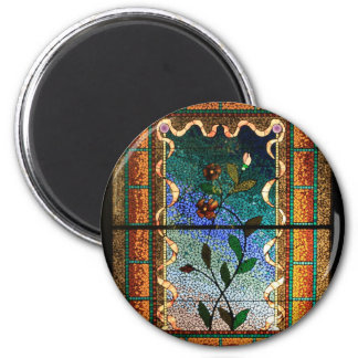 Stained Glass Flowers 6 Cm Round Magnet