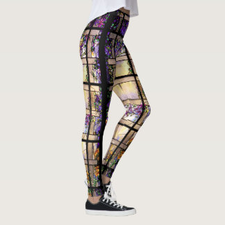 Stained Glass Flowers All Over Print Leggings
