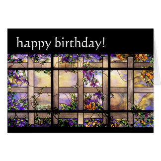 Stained Glass Flowers Birthday Card