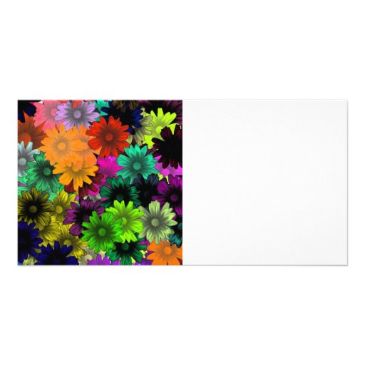 Stained glass flowers customized photo card