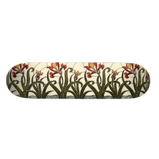 Stained Glass Flowers with Tan Border 20 Cm Skateboard Deck