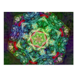 Stained glass fractal kaleidoscope postcard