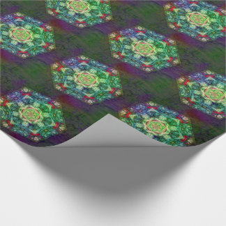 Stained glass fractal kaleidoscope tiled paper