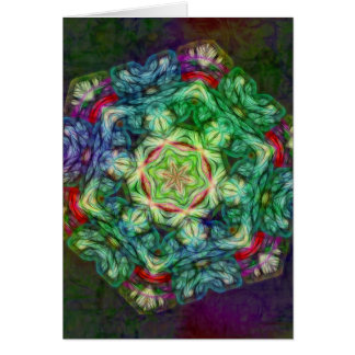 Stained glass fractal kaleidoscope vertical card