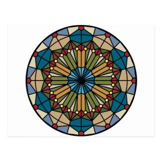 stained glass geometric pattern design modern postcard