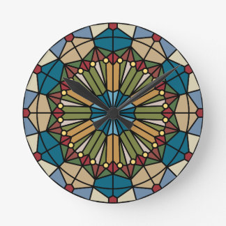 stained glass geometric pattern design modern round clock