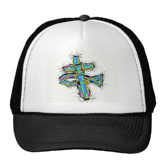 Stained glass graphic of The Cross and The Fish. Cap