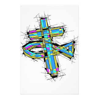 Stained glass graphic of The Cross and The Fish. Customized Stationery