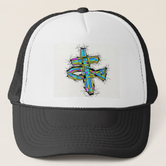 Stained glass graphic of The Cross and The Fish. Trucker Hat