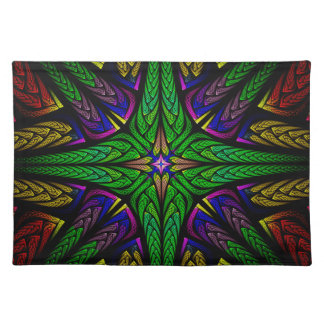Stained glass green cross place mat