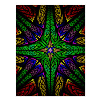 Stained glass green cross postcard