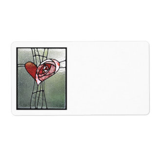 Stained glass heart shipping label