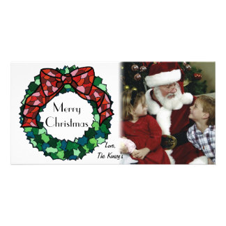 Stained Glass Holiday Wreath Custom Photo Card