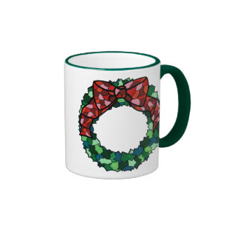 Stained Glass Holiday Wreath Mugs