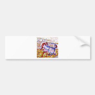 Stained Glass Horse race Bumper Sticker