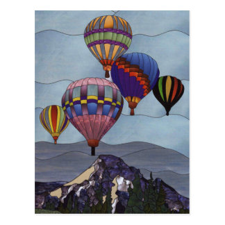 Stained glass hot air balloons postcard