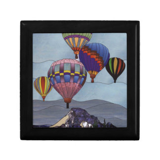 Stained glass hot air balloons small square gift box