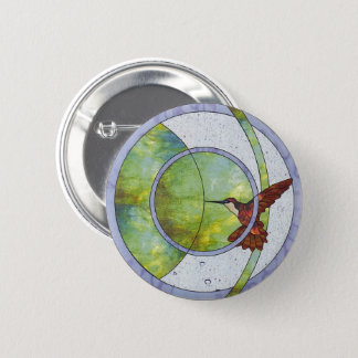 Stained glass hummingbird 6 cm round badge