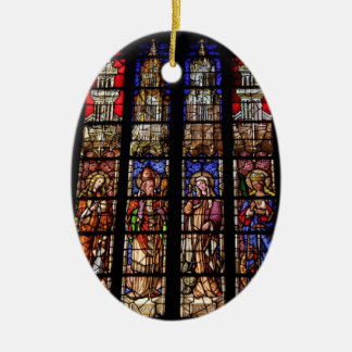 Stained glass in a church in Aix en Provence Ceramic Oval Decoration