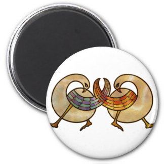 stained glass interlaced swans 6 cm round magnet